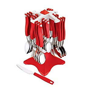 Ganesh Swastik Stainless Steel Cuttlery Set, 26-Pieces, Red