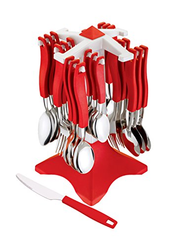 Ganesh Swastik Stainless Steel Cuttlery Set, 26-Pieces, Green