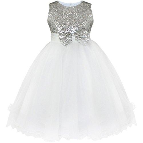 iEFiEL Mädchen festlich Kleid Hochzeit Festkleid mit Pailletten für Kinder Prinzessin Kleid Kostüm Partykleid 92-164 Silber 122-128 (Silber Kinder Kostüme)
