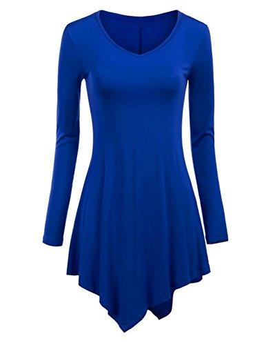 Hippolo Donna Maglione Maglia Camicetta Blusa Asimmetrica Casual Elegante Maniche Lunghe Nappe Ufficio (M, vino rosso) blu