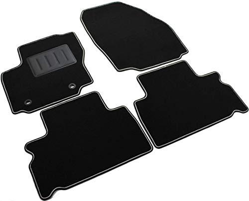 rint01310 - Auto-Fußmatten, Schwarz, rutschfest, zweifarbiger Rand, verstärkter Absatzschoner aus Gummi, für Ford ()