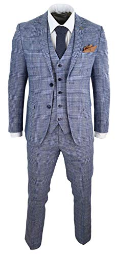 Paul Andrew Herrenanzug 3 Teilig Blau Vintage Gatsby 1920s Design Tailored Fit - blau 48EU/38UK Sakko- 32