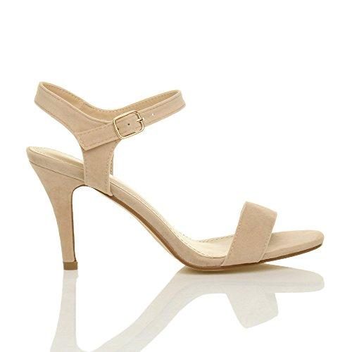 e57f081f47fb ... Femmes haute talon boucle fête élégant à lanières sandales chaussures  pointure Nude Beige Daim ...