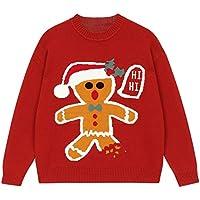 IJL Winter Head Cartoon Lazy Wind Red Wind Christmas Sweater Prendas de Punto Vintage XL Brick Red Prendas de Abrigo