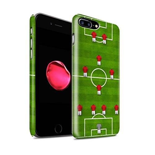 STUFF4 Matte Snap-On Hülle / Case für Apple iPhone 8 Plus / 4-1-2-1-2/Weiß Muster / Fußball Bildung Kollektion 4-1-2-1-2/Rot