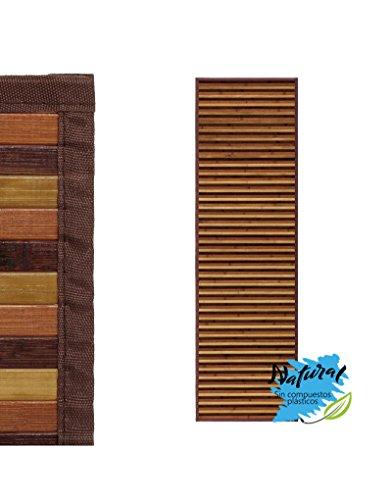 Alfombra Pasillera, de Rayas Color Neutro, de Bambú Natural 60 X 200cm, Natur 60x200 - Hogar y Más