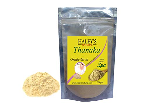 Haley's natural Thanaka Powder For Permanent Hair Removal Anti Acne Aging Whitening, Scrub, Sunscreen, Face Mask 15g
