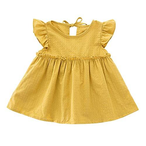 Baby - Mädchen Kleider Kleinkind Kinder Rüschen A-Linie Kleid Einfarbiges Geraffte Hohl Freizeitkleider Fliegender Ärmel Kurz Sommerkleid (Gelb, 90) -