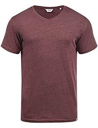 !Solid SID Camiseta De Rayas Básica De Manga Corta para Hombre con Cuello Redondo De 100% Algodón