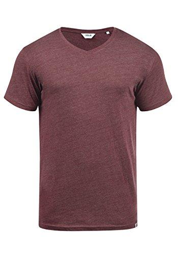 !Solid Bedo Herren T-Shirt Kurzarm Shirt Mit V-Ausschnitt Aus 100% Baumwolle, Größe:L, Farbe:Wine Red Melange (8985) -