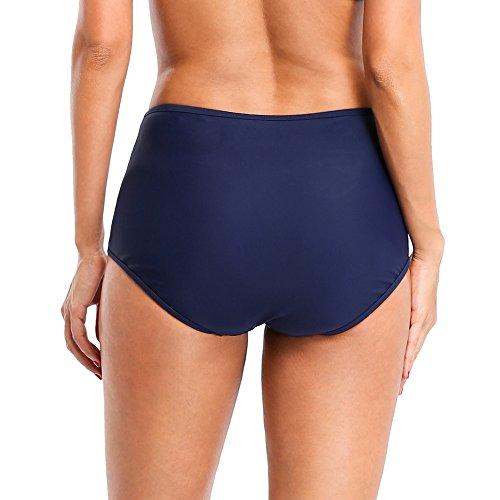 CharmLeaks Damen Badeshorts Bikinihose Mit Raffung Retro High Waist Panty Dunkelblau Mesh