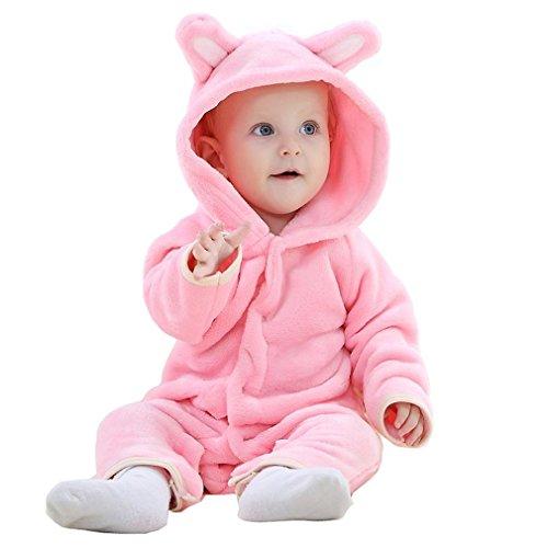 n und Jungen Bär Stil Overall Herbst & Winter Strampler Kleidung Pink-80 (Mädchen Halloween Kleidung)