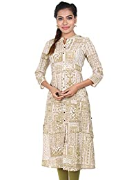 ESTYLe Golden Olive & White Ethnic Printed A-Line Cotton Kurta