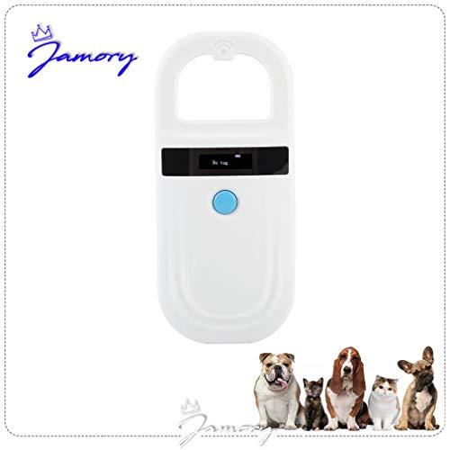 Jamory Chiplesegerät Tierkennzeichnung ISO Transponder Tier-Kennzeichnung Chiplesegerät Pet Scanner (Weiß)