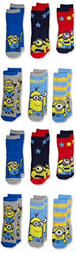 FM London Boy's Official Licensed Minions Socks, pack of 12