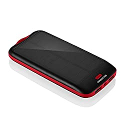 [Upgraded Version] Poweradd Apollo2 10,000mAh Portable Solar Panel Charger External Battery Pack - Black
