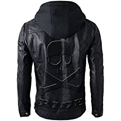 Leatherly Brando estilo moto cuero Biker chaqueta con capucha con calavera en relieve la insignia trasera negro-XL