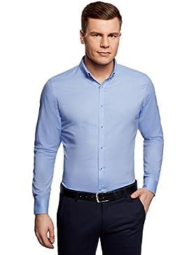 oodji Ultra Uomo Camicia Slim Fit con Maniche Lunghe