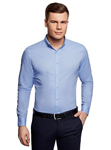 oodji Ultra Herren Langarm-Hemd Slim Fit, Blau, Herstellergröße 40 (Kragenweite 40cm) / DE 48 / (Armee Für Outfits Männer)