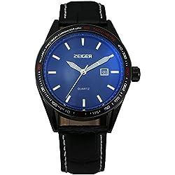 ZEIGER Herren Uhr Quarz Analog Datum Herrenuhr Schwarz Leder Armbanduhr Herren W321