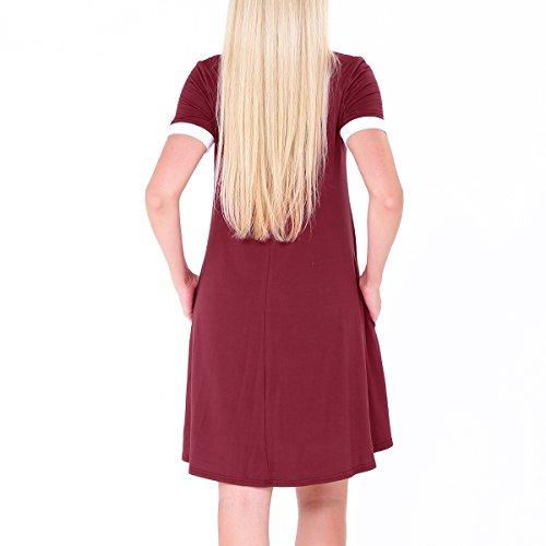 SG Lässige lose Tunika Kleid kurze Ärmel Rundhal Kleid Rotwein