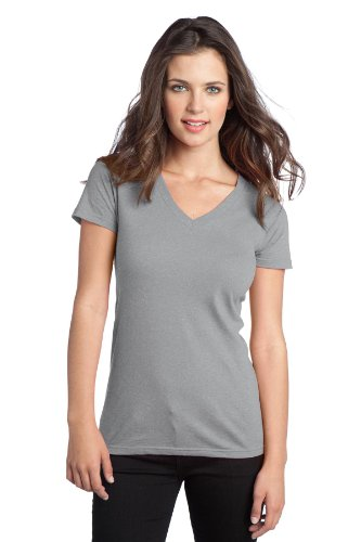 District® - Juniors The Concert Tee® V-Neck. DT5501 Heather Grey L
