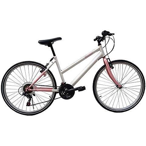F.lli Schiano Thunder - Bicicleta de montaña para mujer, 18 velocidades, color rosa/blanco, cambio Shimano, rueda
