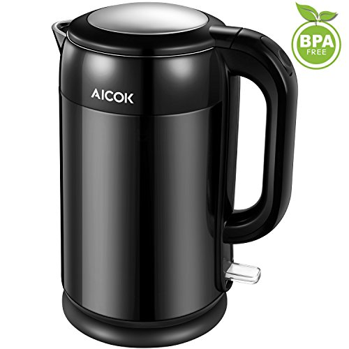 Aicok Electric Kettle Full Stainless Steel Kettle Cool Touch Double Walled Tea Kettle Fast Boil Water Kettle with Large Lid, 2200W, 1.7 Liter, Black