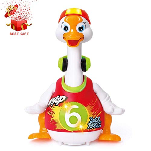 Baby Musical Toys Funny Dancing Hip-Hop Swing Goose Early Education with EQ Intelligence Training ,Music and Learning ,Walking , Flashing Lights, Voice Answers(Best Gift Toys for your Babies)