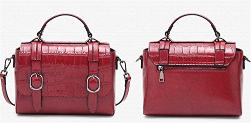 XinMaoYuan Ladies borsetta pacchetto postale borsa tracolla in pelle paragrafo orizzontale colore solido coperto Zipper Bag,giallo Vino rosso