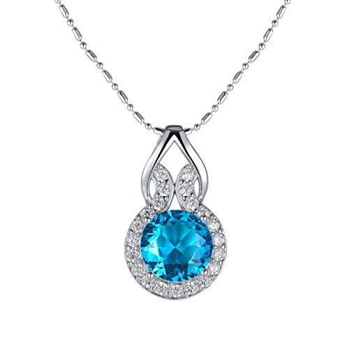 Oven Moda Valentinstag Vergoldete Geschenk Blau Swarovski Elementen Kristallweiß Ketten für Damen Kette Charm Schmuck