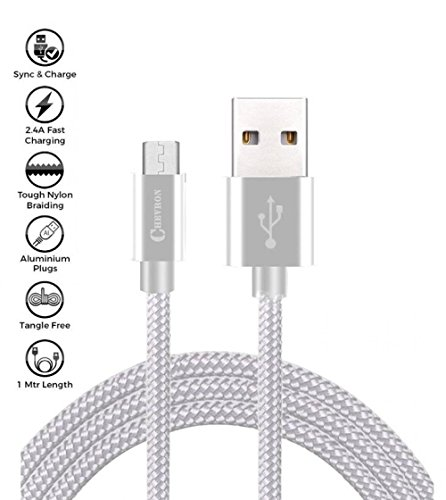 Chevron Type C To Usb A 3.5 ft [1 Meter/ 3.3 Feet] Nylon Braided Original Long And Tough Cable For Oneplus 5/Oneplus 3T/ Oneplus 2/Huawei Honor Magic/ Nexus 5X/ Nexus 6P/Le Eco Le 2/ New Macbook/Chromebook Pixel/Gionee S6/Meizu Pro 5/ Xiaomi Mi 4C/ Xiaomi Mi 5/ Leeco Le 1S/Leeco Le 2/ Le 2 Pro/Leeco Le Max 2/ Nokia N1 Tablet And Many More Type C Devices - Silver