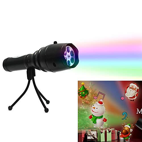 HLDUYIN Weihnachtsprojektor Lichter LED 12 Muster Dias Handheld Projektor Spielzeug für Kinder Tragbare Taschenlampe Lampe mit Stativ,Black