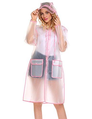 Kisshes Damen Transparent Regenjacke Regenmantel Wasserdicht Poncho Raincoat Regenbekleidung mit Kapuze für Fahrrad Motorrad S-XXL
