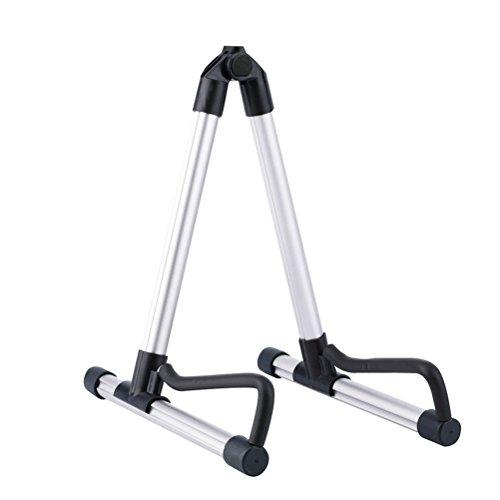 PIXNOR Stand Pieghevole per Chitarre Elettriche Classiche e Acustiche (argento)