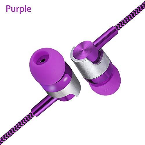 Tragbare Kopfhörer, Metall-In-Ear-Stereo-Kopfhörer Bass-Kopfhörer Sport-Headset Freisprech-Ohrhörer mit Mikrofon(Purple)