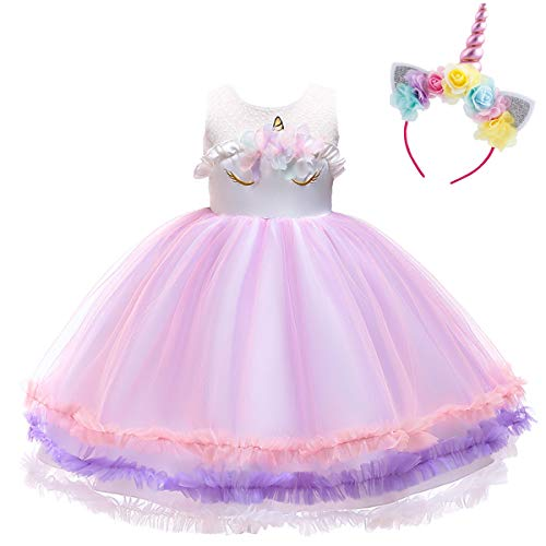 Costume da Principessa Unicorno per Bimba con Vestito Lungo Compleanno  Ballerina Bambini Carnevale Halloween Abito Arcobaleno 91938b64b07
