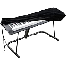 Cubierta para el teclado de piano, cubierta protectora tramo de terciopelo con cordón elástico ajustable para 88 teclas del teclado, piano digital, Yamaha, Casio, Roland, Consolas y más (Negro)