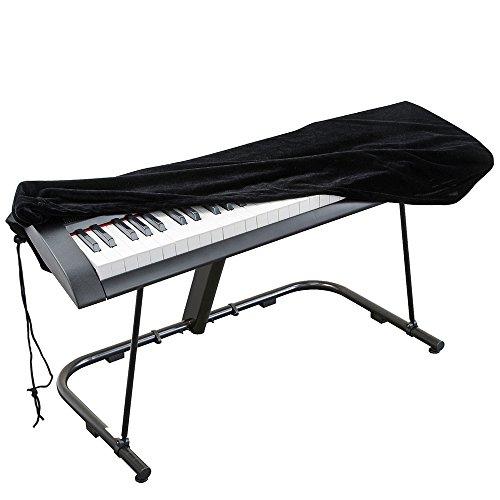 Abdeckung für Klaviertastatur, Stretch-Samt Schutzabdeckung mit verstellbaren, elastischen Schnur und Verriegeln für 61 Tasten-Tastatur, Digitalpiano Yamaha Casio Roland Konsolen und mehr (schwarz)