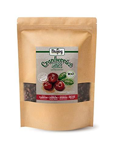 BIO-Cranberries ungezuckert von Biojoy | getrocknet | Premium-Qualität aus biologischer Landwirtschaft | ungeschwefelt | natürliche Fruchtsüße aus Apfeldicksaft | Vaccinium macrocarpon (1 kg)
