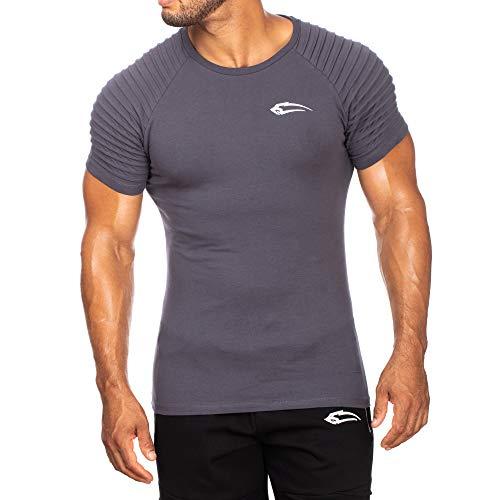 Armee-logo-t-shirt (Herren T-Shirt Ripplez | Kurzarm | Casual Top | Funktionsshirt für Sport Fitness Gym & Training | Trainingsshirt - Laufshirt - Sportshirt mit Logo, Farbe:Anthrazit, Größe:XXXL)