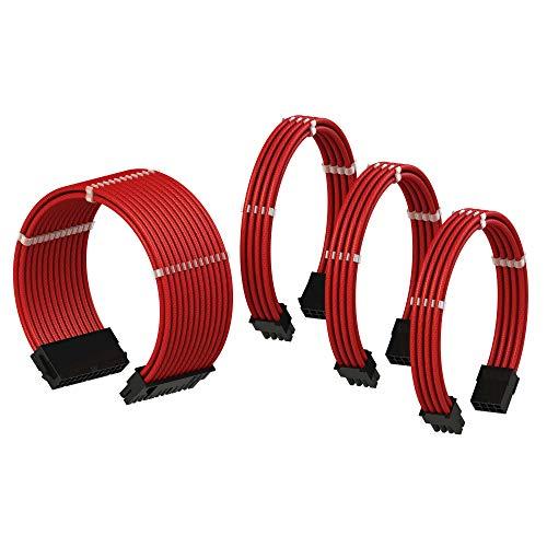 LINKUP PSU Cable Extension Sleeved Custom Mod GPU PC Power Supply Braided w/Comb Kit |1x 24 pin (20+4) | 1x 8 pin (4+4) CPU | 2X 8 Pin (6+2) GPU Set | 50CM 500MM - Red