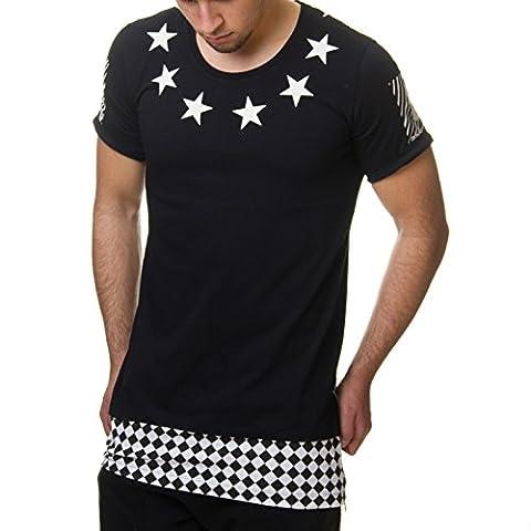 RedBridge Herren T-Shirt Long Oversized Karo Star Schwarz Weiß M1034,