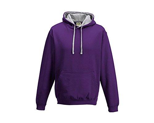 Varsity sweat-shirt à capuche à capuche pull-over à capuche unisexe coloré - Purple Heather Grey