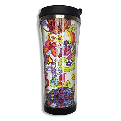 Vacuum Insulated Stainless Steel 420 ML Funny Hippy Sugar Skulls Butterflies Coffee Mug Double Wall Vacuum Insulated Cup For Travel Home Office School Men,Women Wall Insulated Travel Mug