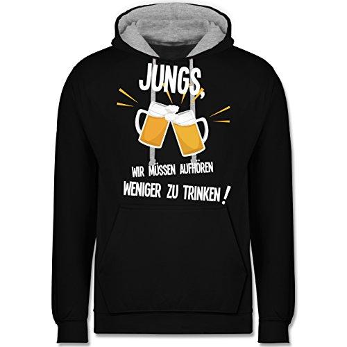 Statement Shirts - Jungs, wir müssen aufhören weniger zu trinken - Kontrast Hoodie Schwarz/Grau Meliert