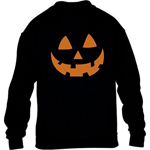 Jack O' Lantern Kürbis Gesicht Halloween Kinder Pullover Sweatshirt XL 152/164 Schwarz