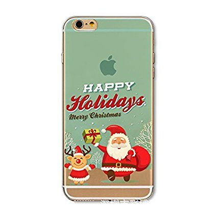 iPhone 7 Cover Xmas,iPhone 7 Custodia Silicone,TPU Gel Protettivo Shell Case Cover per 4.7 Apple iPhone 7/iPhone 8 Merry Christmas Natale Slim Sottile Crystal Clear Silicone Morbido Gel Anti-graffio  Xmas 12