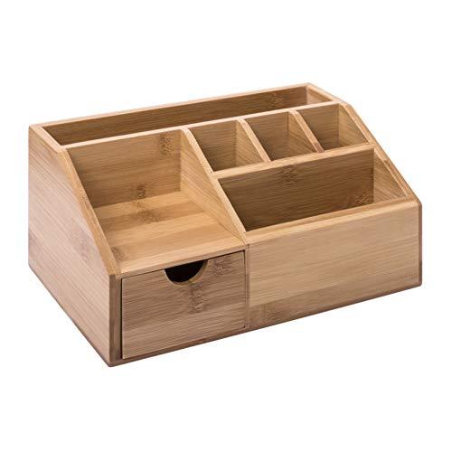 woodluv Bambus Schreibtisch-Organizer, Stiftehalter, Briefständer, multifunktionale Aufbewahrung, Organizer, 24,5 x 15 x 11 cm -