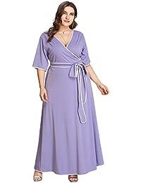 2c4cab7067 Romwe Women s Cute Plus Size Contrast Binding Belted Wrap V Neck Maxi Dress